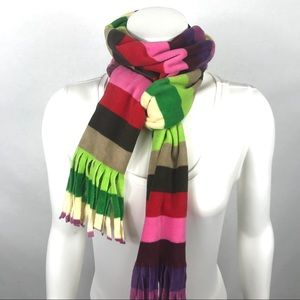 Plush skinny multi-colored striped scarf